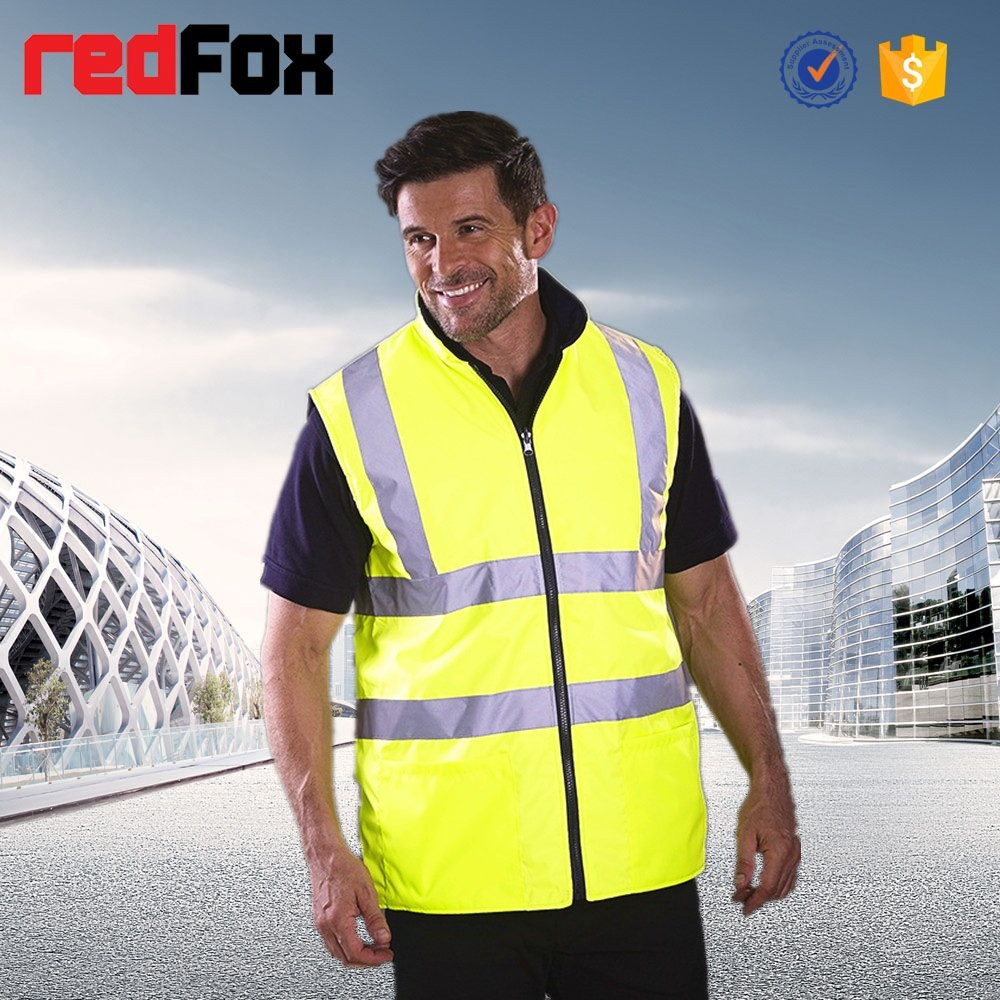 with waterproof fabric and reflective tape winter sleeveless fleece jacket