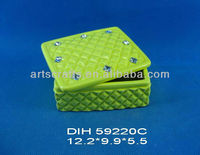 Square ceramic bread box with color-glazed