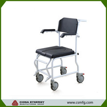Stainless steel swivel shower chair commode foam seat chair