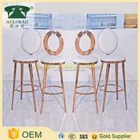 promotional hot selling round back high bar pu leather stool metal bar stool with back