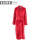 Western Woman Super Soft Cutting Pattern Soild Color Bright Colored Flannel Fleece Bathrobe