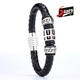 Men Black Silver Braided Genuine Leather Cuff Wristband Stainless Steel Clasp Bracelet For Boy