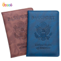 Encai PU Emboss USA Passport Cover Travel America Passport Holder With Card Slot