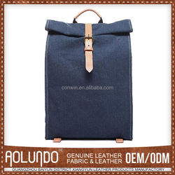 Guangzhou new model royalblue color vintage genuine leather college canvas fashionable backpacks