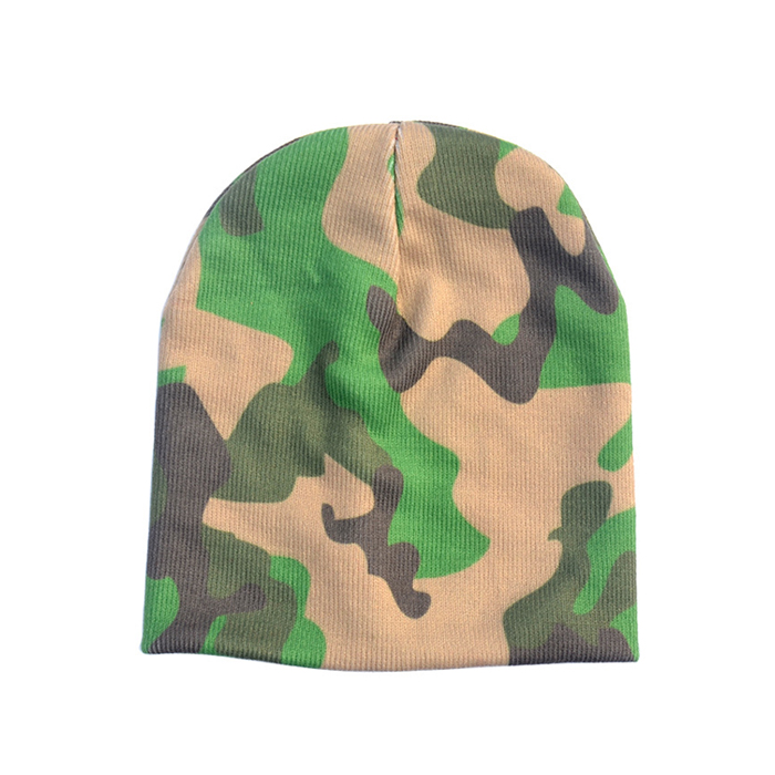 Green Camo Knit Beanie Cap Baby Turban Hat Custom kids Beanie