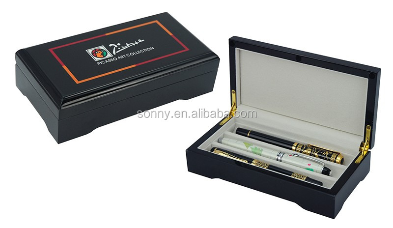 Personalised Wooden  Pen Collectors Box for 3 Pens Storage