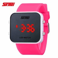 Cheap waterproof colorful light up led mirror watch