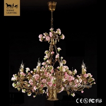 Polished Rococo Country style 10 Lights Pink wedding centerpiece Flower Bronze ceramic Pink crystal flower chandeliers
