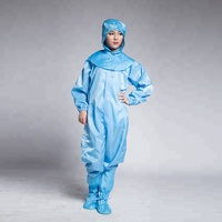 Blue Anti Static Workwear Jumpsuit ESD Protective Clothing For Cleanroom