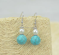 2015 spring Fashion handmade turquoise beads earrings