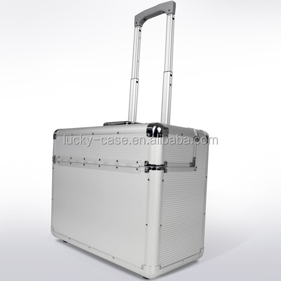 Silver Aluminium Trolley Pilot Case with Wheels