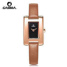 Fancy design genuine leather strap stainless steel case IP plated two hands promotion quartz watch for lady