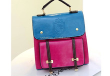 2014 wholesale korean contrast colors pu leather/ faux leather satchel backpack