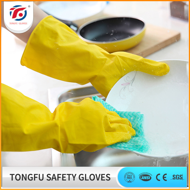 Household Kitchen Long Latex Glove / Unlined and Flock Lined Long Rubber Gloves