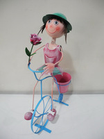 Colorful fashion home and garden metal girl planter with bicycle