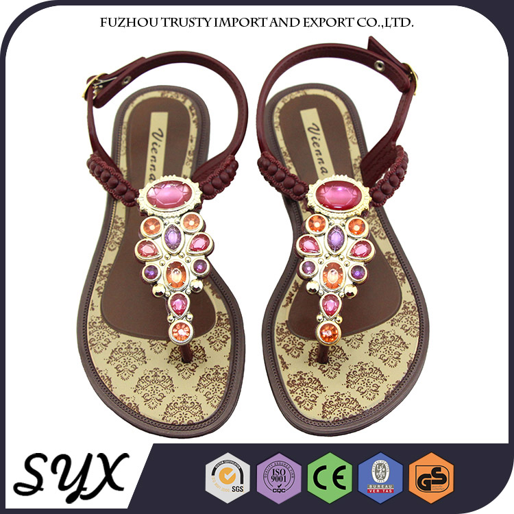 Bronze Pvc Thong Open Toe Lady Formal Flat Safety Sandal China