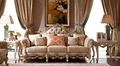 Luxury solid wood home furniture flower carving fabrice sofa set