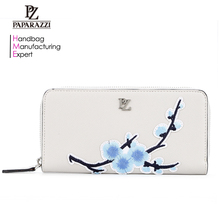 7016B China supplier PU leather wholesale embroidered purses handbags women wallet billetera