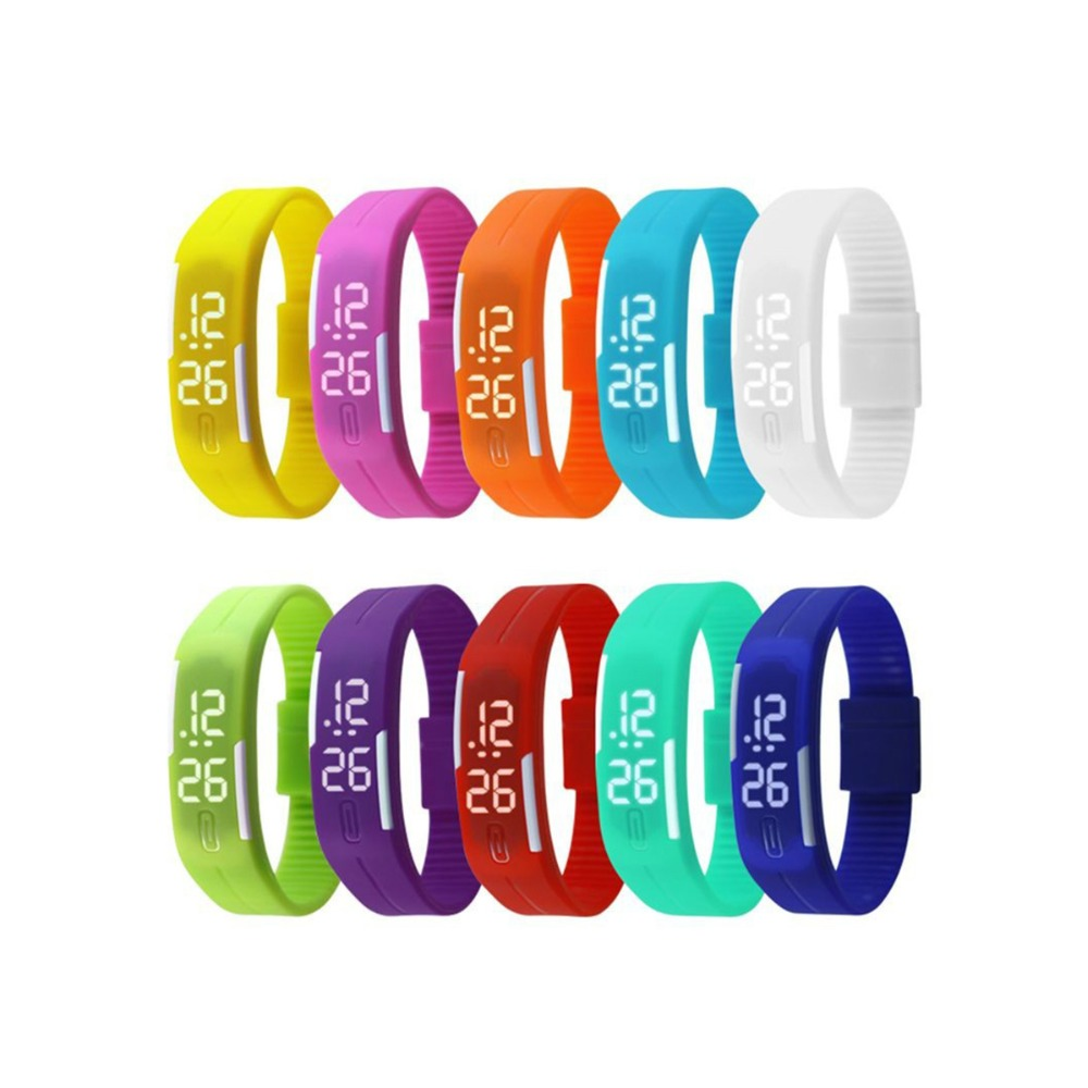 Cheap price colorful silicone rubber LED digital wrist watch with stocks available