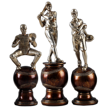 Unique sports figure person standing on the baseball for collectible and art