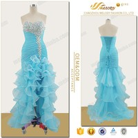 Turquoise organza elegant off shoulder cocktail latest fashion evening dresses