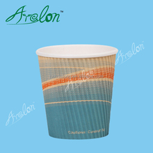logo printed hot insulated disposable thick ripple wall coffee paper cups with ps lids
