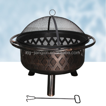 Garden Treasures 31.1-in W Antique Black Steel Wood-Burning Fire Pit