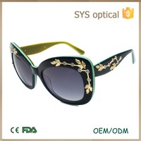 Custom branded decorous women goggles,with metal diamond in frame lady sun glasse