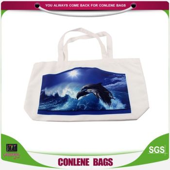 Newest sale special design environmental dolphin logo printed cotton bag