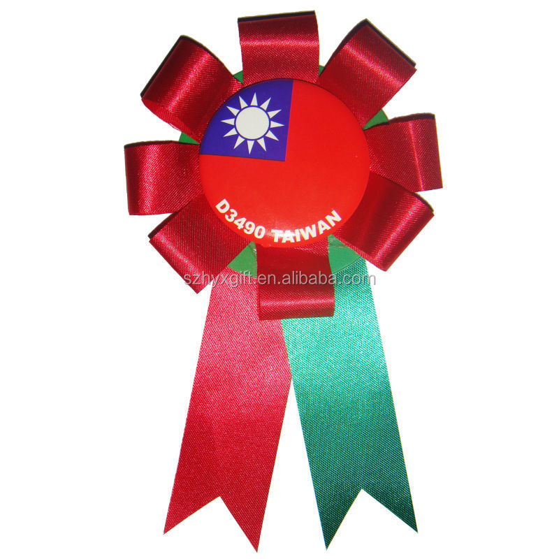 Novelty Quality Handmade Factory Award Ribbon Button For Election Campaign