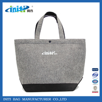 2016 New Fashion Eco-friendly Wool Felt Tote Bag With Handle Strap