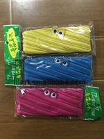 Zipper Canvas Pen Pencil Case Stationery Pouch Bag with Google eyes for promotional