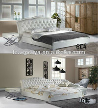 Modern diamond furniture white color leather/pu bed 610&611#