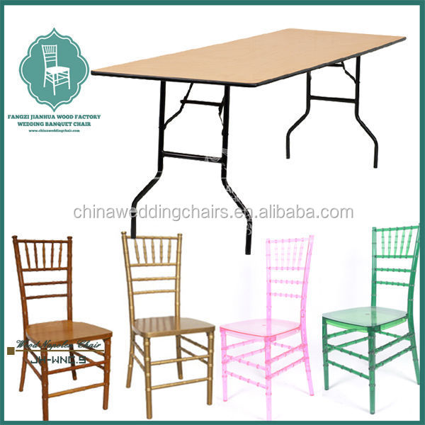 Wood round folding table and chair for living room