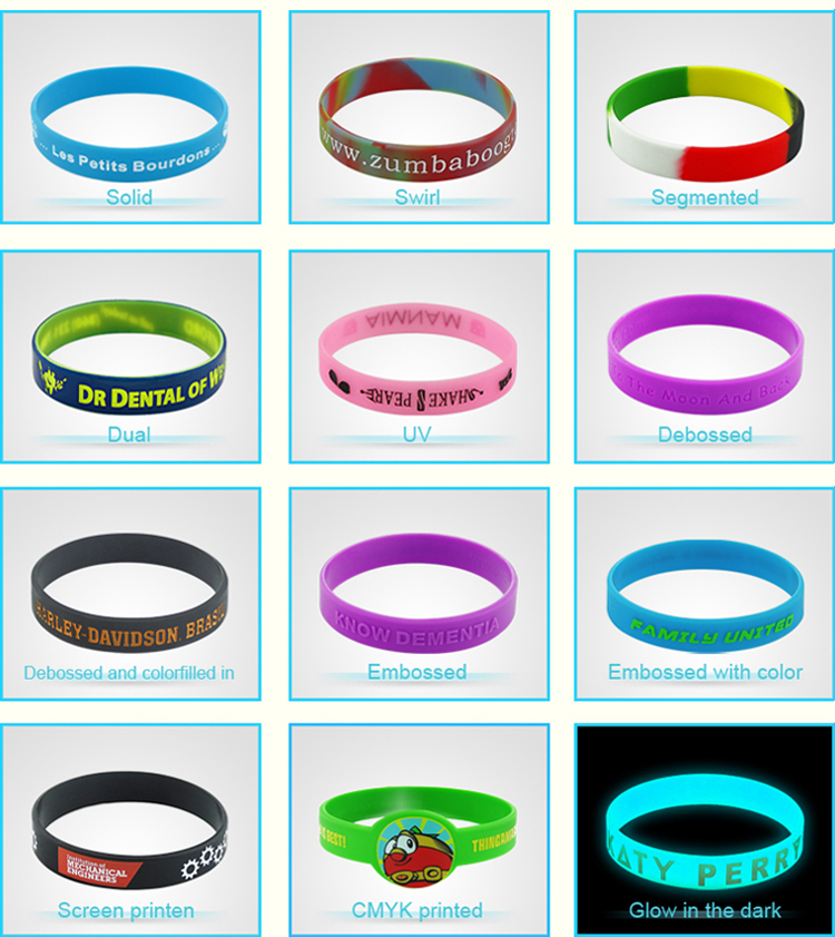 Segmented and printed customer logo fashion silicone wristband