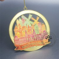 new design full color printing metal Christmas ornament for holiday