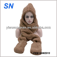 Fashion hooded fleece scarf in stock