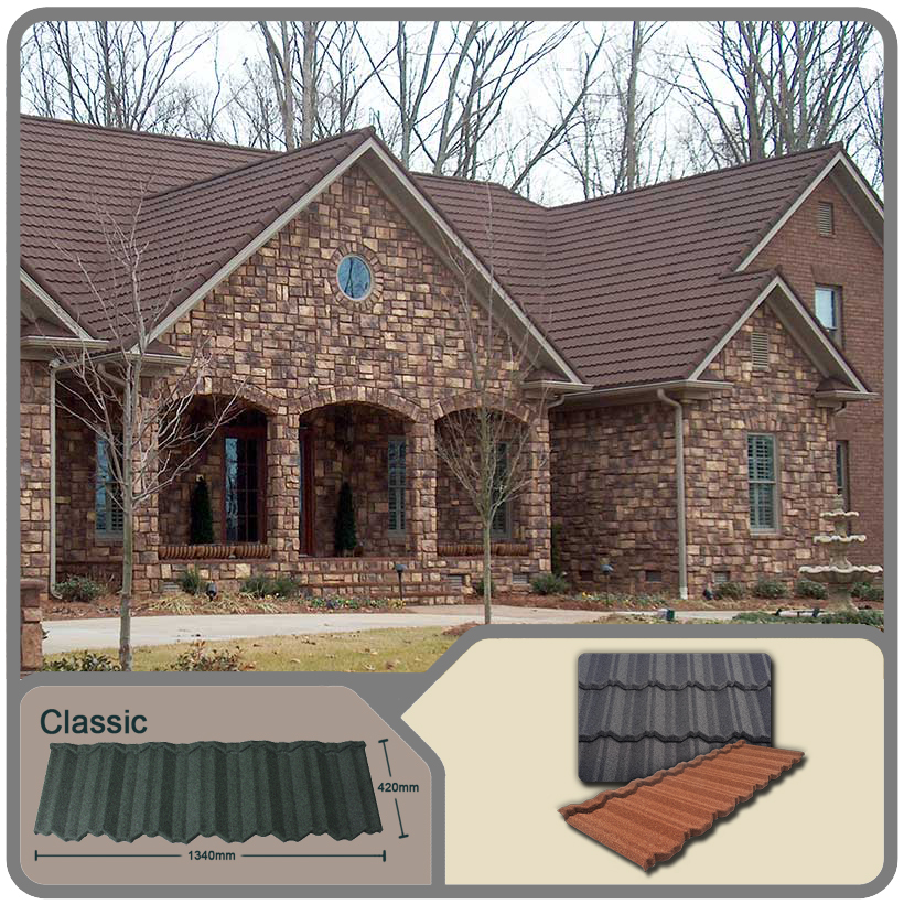 High quality colorful stone coated steel roofing sheet / stone metal roof tiles / classical stone coated step tile roofing sheet