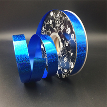 Wholesale blue holographic christmas gift wrapping ribbon for bows