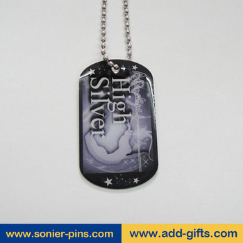 print metal dog tag necklace, custom stainless steel pendant