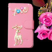 hot selling luxury animal series bling bling flip leather cover case for samsung galaxy note 4