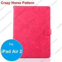 Fashion Crazy Horse Luxury Leather Case For iPad Air 2 Case With Stand Function Card Holder