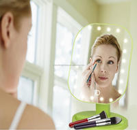 Touch Screen Battery Operated Cordless LED mirror Lighted Vanity Makeup Mirrors with Portable 3