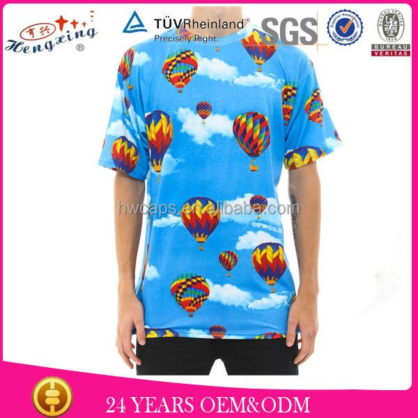 All over sublimation printing full print 100 cotton fabric for t-shirt