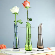 Long glass vase green solid color stem clear transparent flower vase blown manufacture