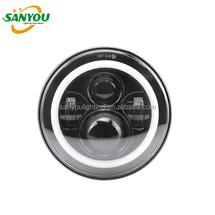 "SANYOU Popular design 7"" high/low beam rgb angel eyes LED headlight for JEEP Wrangler for motorcycle"