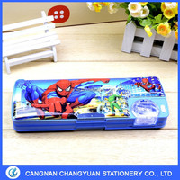 Kids personalized pencil box with sharperner ,compartments & button pecil case