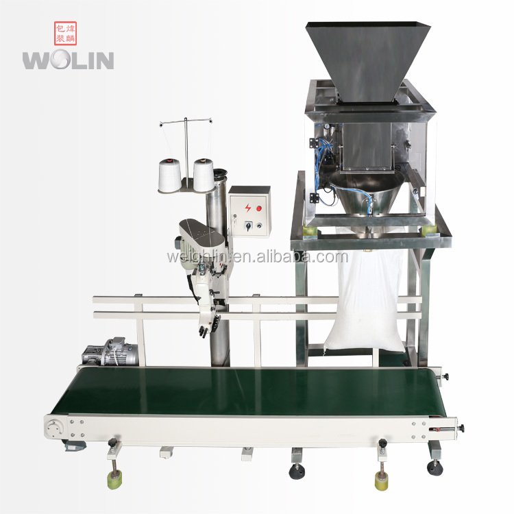 Factory supply full big weight filling stitching sewing packing line 5kg 10kg 25kg 30kg 50kg bulk rice seeds sugar beans polybag