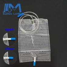 2000ml disposable Pull and Push valve incontinence urinary bag
