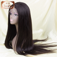 Top quality unprocessed Peruvian human hair wig 10''-30'' natural color yaki hair Peruvian virgin hair free lace wig samples